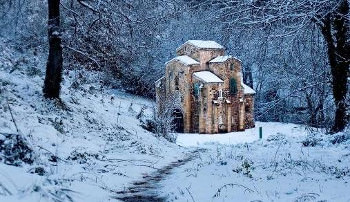 Church in Spain in snow